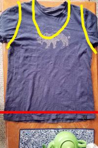 Žlutá naznačuje stříhání a červená místo šití
